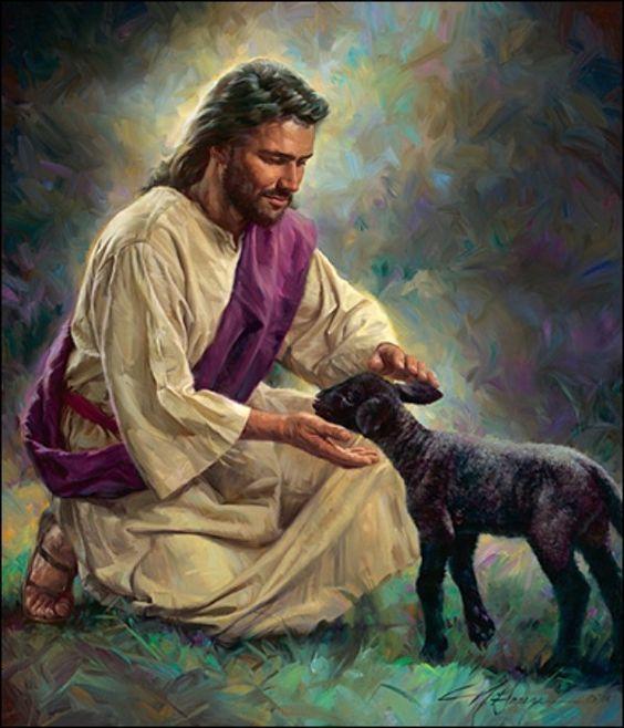 Gentle Shepherd, Jesus petting black lamb. Prophetic art.   Jesus art, Jesus pictures, Christian pictures