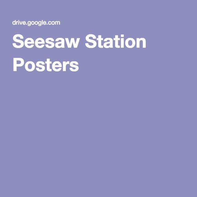 Seesaw Station Posters Seesaw, Elementary technology