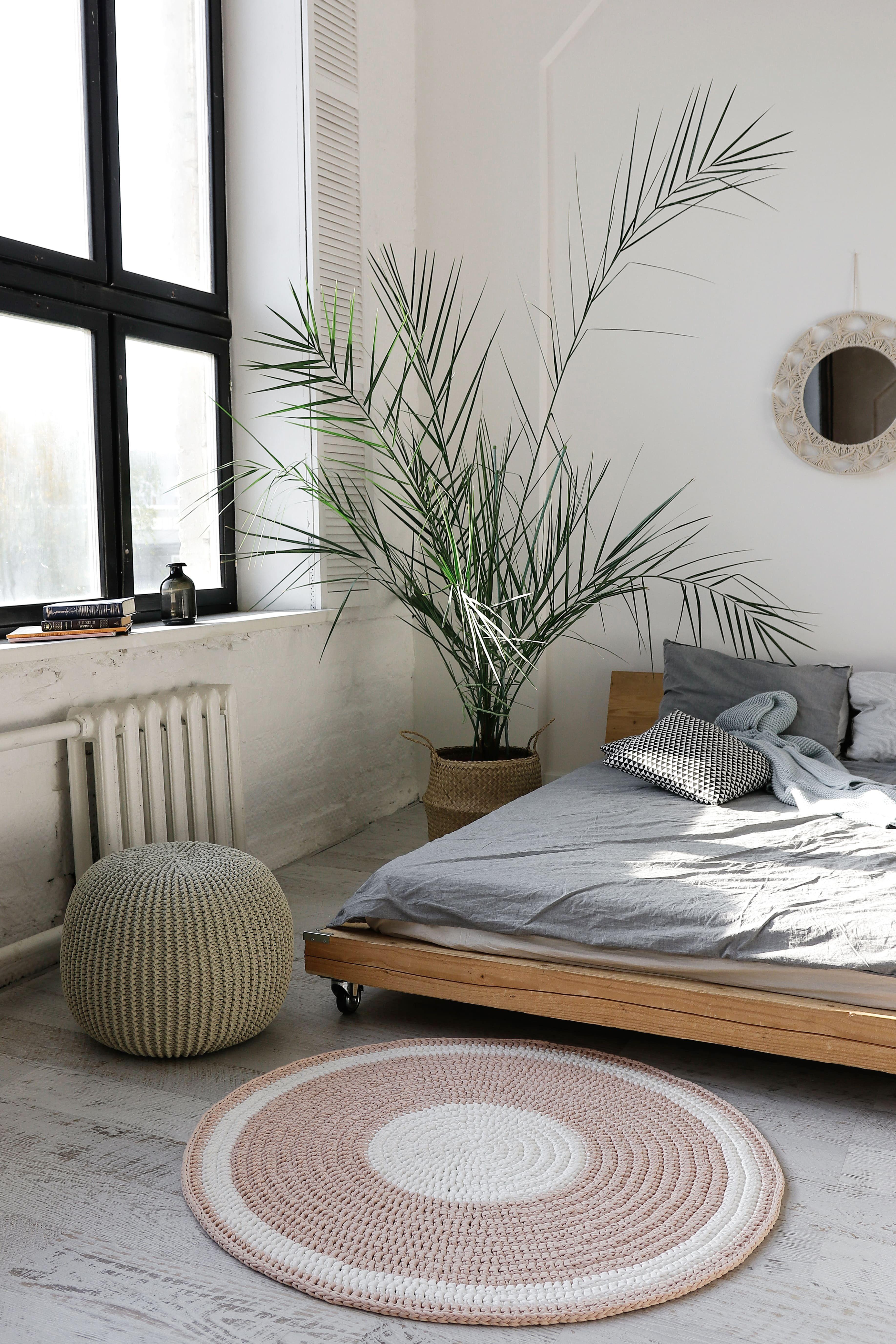 Round Rug In Scandinavian Style Details 100 Cotton Hand