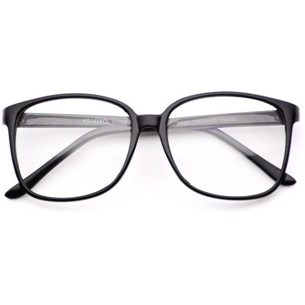 Oversized Square Clear Lens Nerd Glasses Thin Frame ($9.95) ❤ liked ...