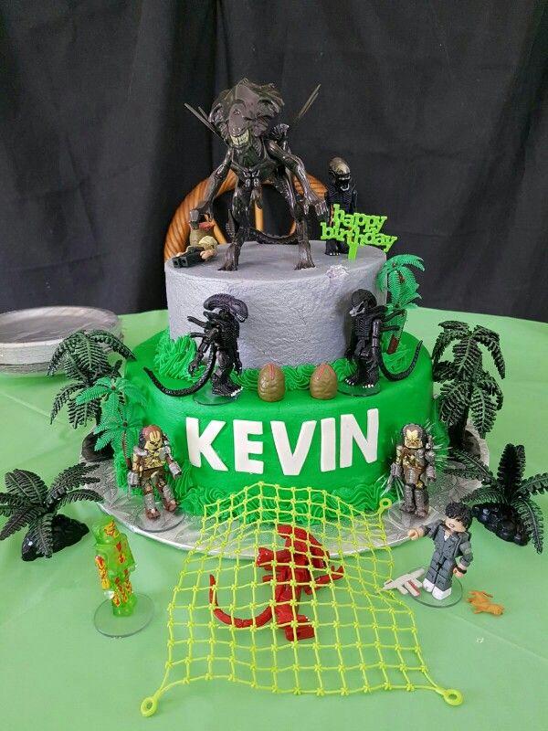Alien Vs Predator Cake Birthday Minecraft Fiesta Fiesta Alien