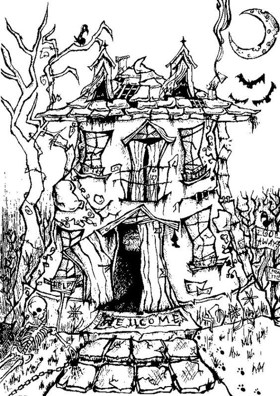 Free Printable Difficult Grown Up Coloring Pages Halloween Creative Leisure Activities Beautiful Drawings Manor House Drawing
