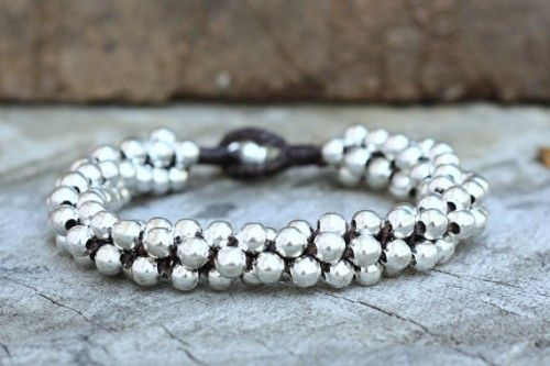 All Silver Big Ball Bracelet | brasslady - on ArtFire
