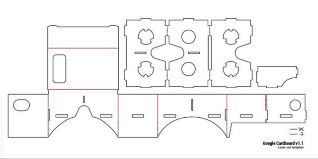 Planos de las gafas de cartón Google CardBoard