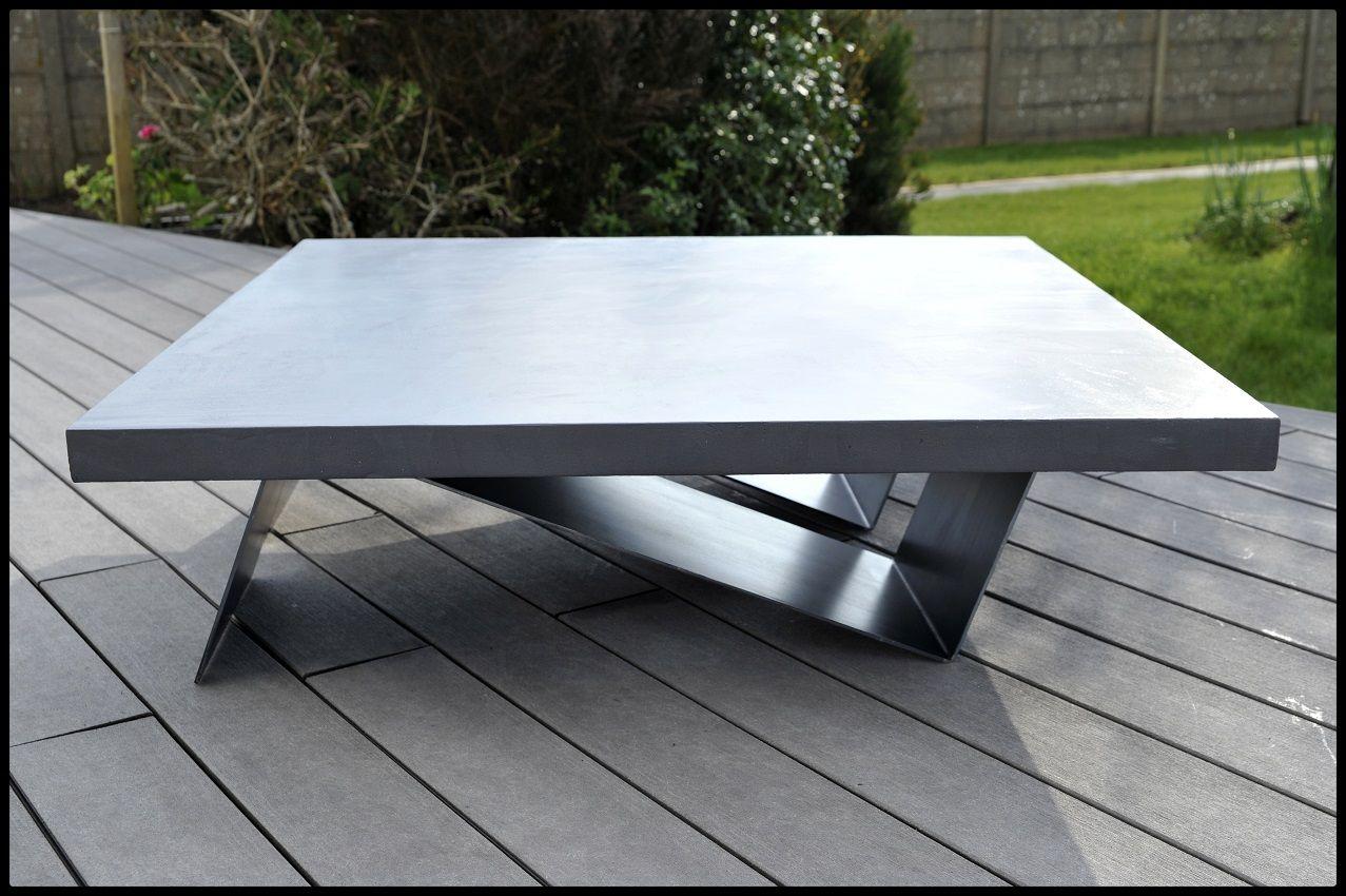 Table En Béton Ciré Et Bois table basse metal et beton cire vibes - steelblast - 003