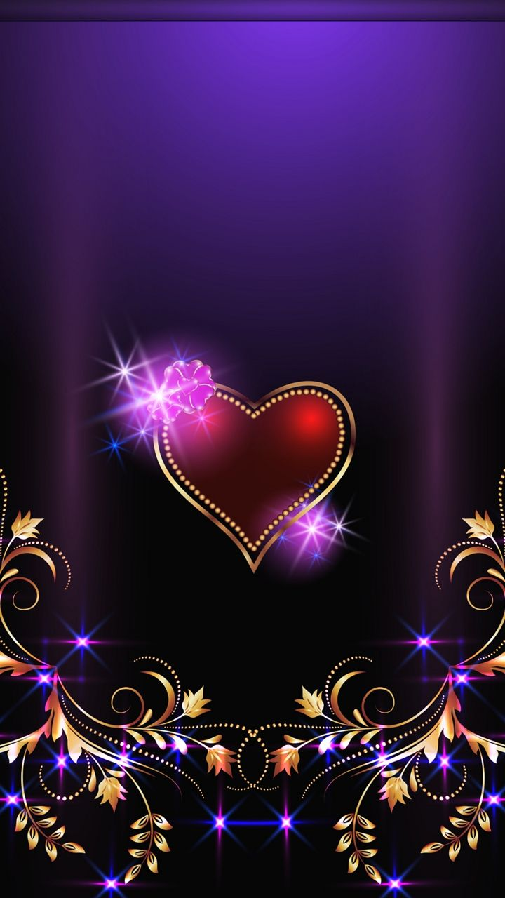 Royal Purple Sparkly Heart Background
