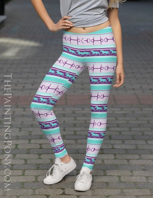 Trotting Ponies and Bits Striped Equestrian Leggings #horsepattern