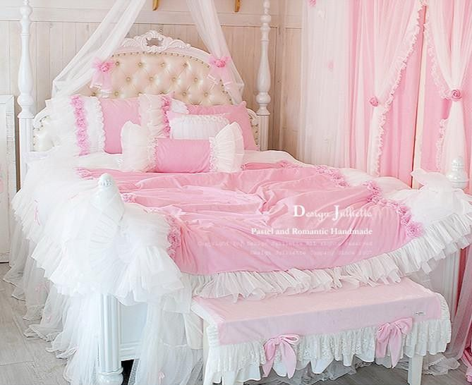 Luxury Pink Velvets Cotton Rose Girls Tulle Ruffle Bedding