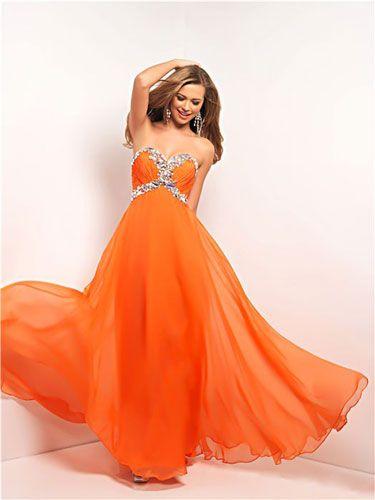 14 Stunning Strapless Prom Dresses | Orange prom dresses