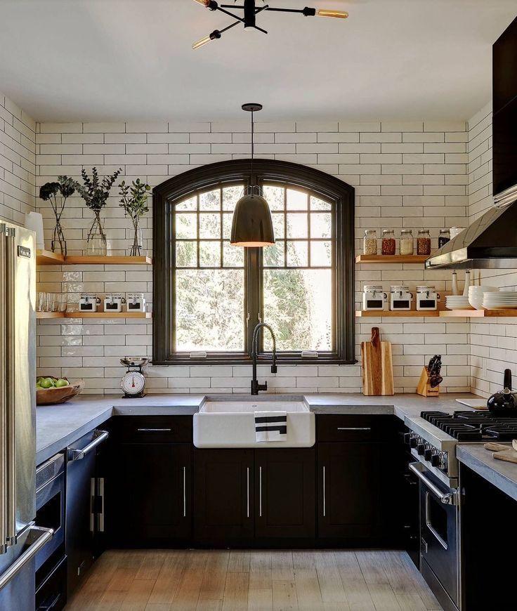 kitchen interior design black white subway