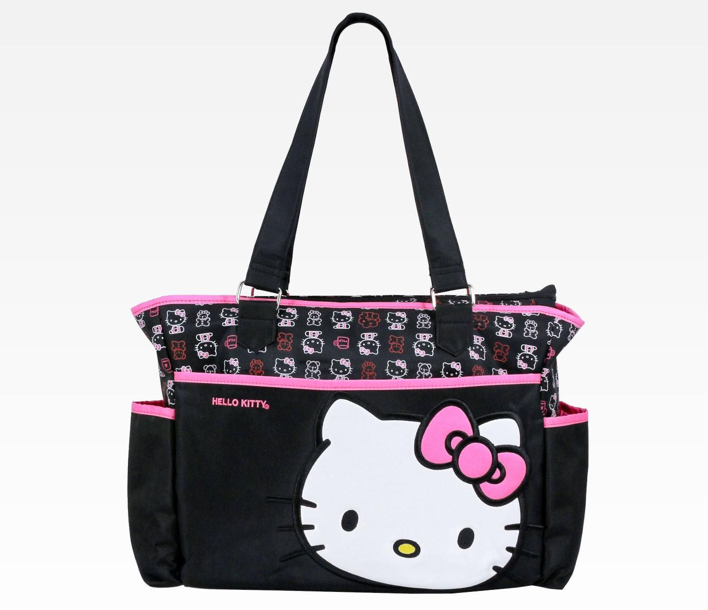 hello kitty black diaper bag face while i have no need for a diaper bag i would absolutely. Black Bedroom Furniture Sets. Home Design Ideas