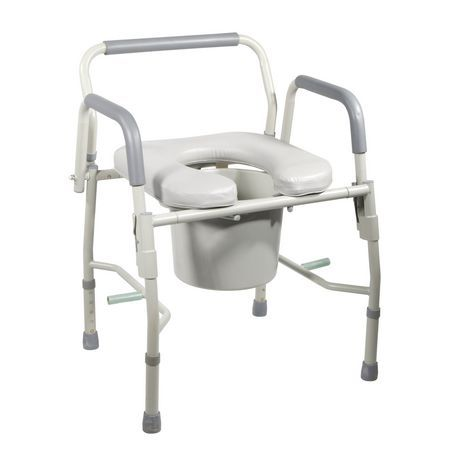 Drive Medical Steel Drop Arm Bedside Commode With Padded Seat And Arms Bedside Commode World Market Dining Chairs