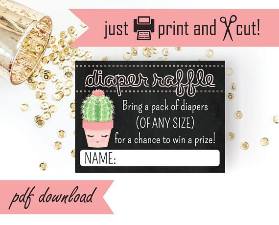 Printable Diaper Raffle   Cactus Baby Shower Games Printable - raffle ticket