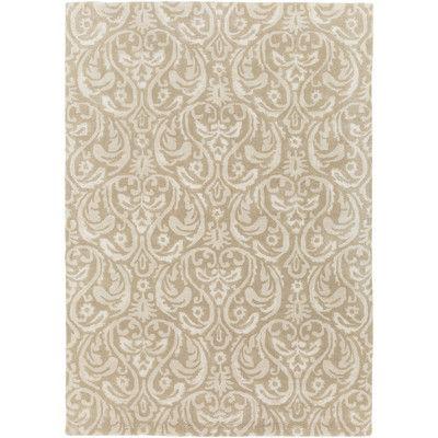 "Astoria Grand Batchler Hand-Tufted Khaki/Taupe Area Rug Rug size: 3'3"" x 5'3"""