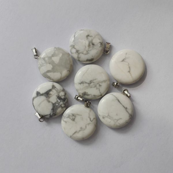 Free shipping new natural White Turquoise stone round charms Silver P Beads Pendant for jewelry making 50pcs/lot Wholesale