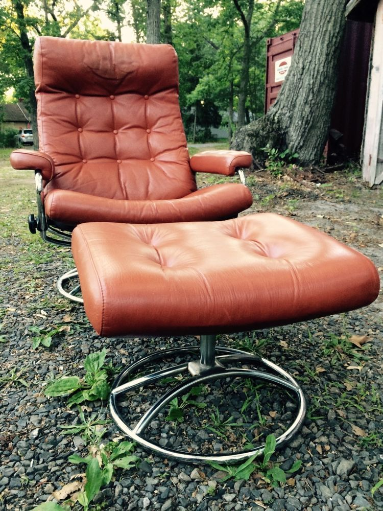 Vintage Norway Ekornes Stressless Leather Chrome Recliner Chair Ottoman  Orange #Ekornes