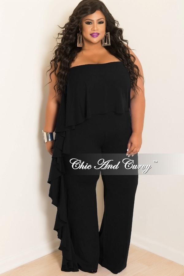 Plus Size Strapless Jumpsuit With Side Ruffle In Black Chic And