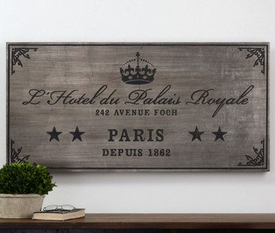 Large Shabby French Country Palais Royale Hotel Paris France Wall Plaque Sign Ebay Distressed Wall Art Paris Wall Art Wall Art Decor