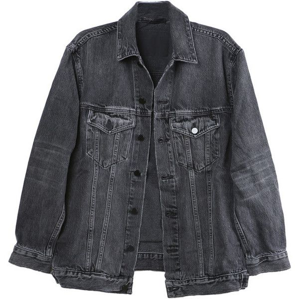 Alexander Wang Daze Grey Denim Jacket found on Polyvore featuring ...