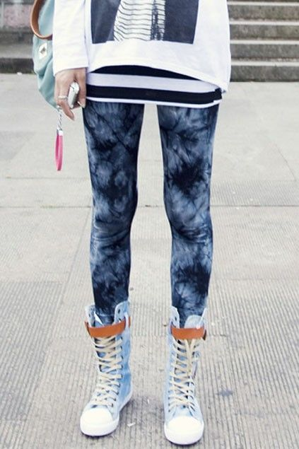 Blue Tie Dye Leggings