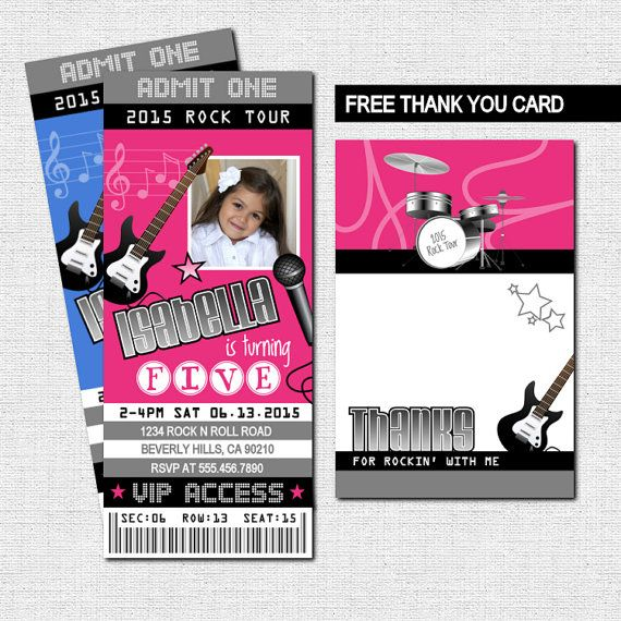 CONCERT TICKET INVITATIONS Rock Star Birthday Party + Thank You Card + Vip  Backstage Badge Pass (print Your Own) Printable Files  Concert Ticket Birthday Invitations