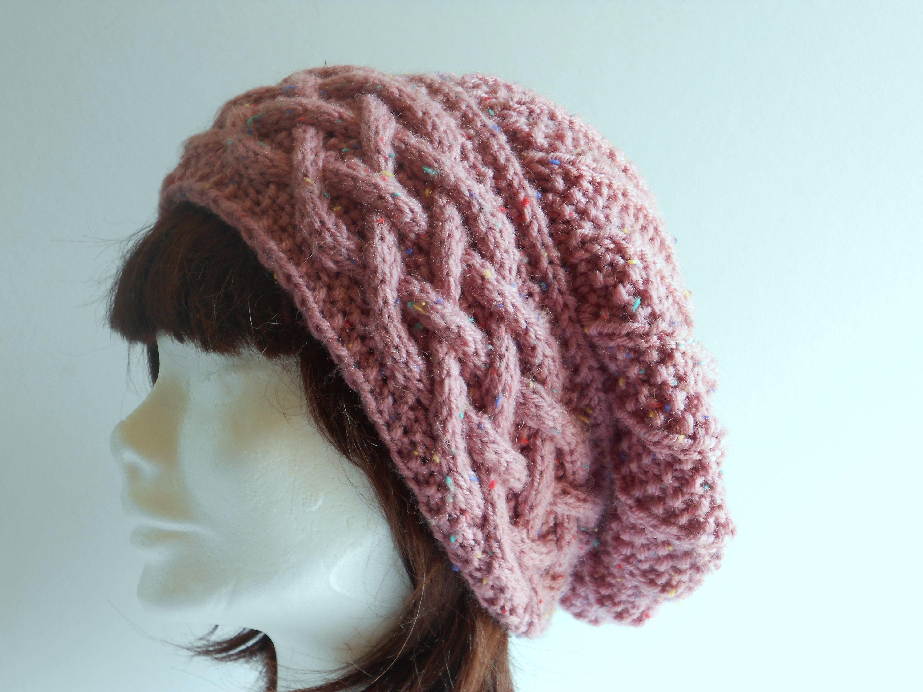 Slouchy Beret for women to wear in winter. Women's pink slouch cable hat. Christmas Gift for Wife. Handmade gift for her.