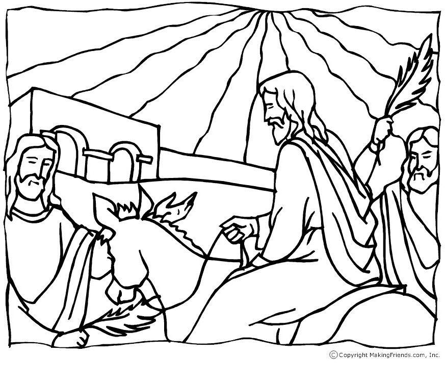Jesus Palm Sunday Coloring Page