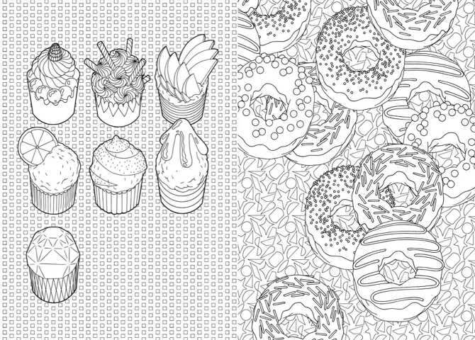 Cuupcakes and donuts cupcake and sweeties pinterest coloriage colorier et coloriage adulte - Dessin a colorier adulte ...