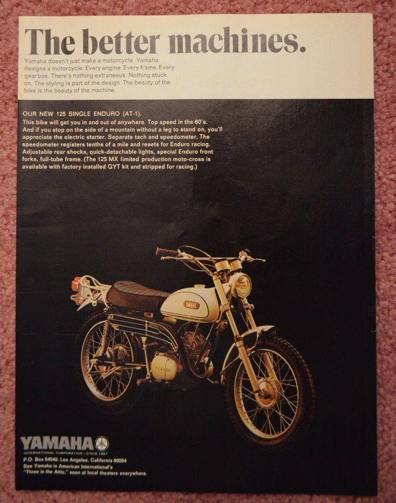 1969 Yamaha AT1 125 Single Enduro Color Magazine Ad | eBay | 1969 ...