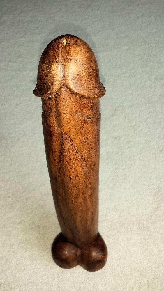Sexy wood penis statue phallic symbol hand carved