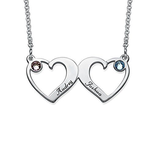 ac35b4eea2ab9 STARATION Sterling Silver Double Heart Personalized Love Necklace ...