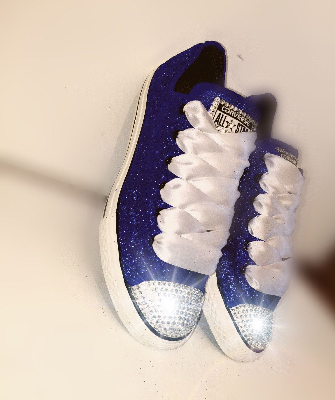 1ef42ba6e0be Women s Converse all star shoes handmade Sparkly glitter navy blue chucks  sneakers tennis wedding bride prom dance something blue by CrystalCleatss  on Etsy ...