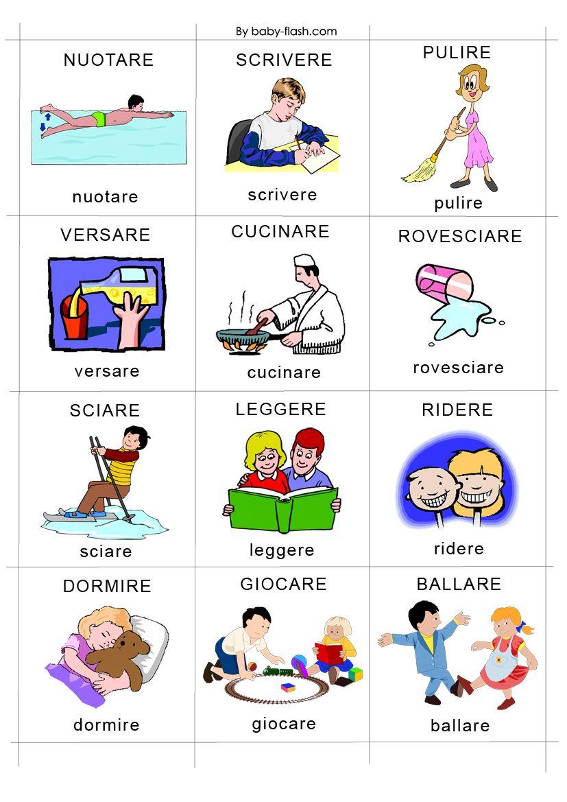 Schede didattiche azioni schede per scuola parole for Baby flash italiano doppie