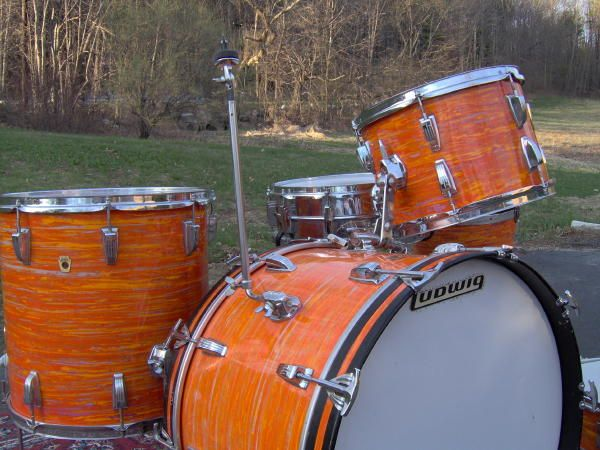 ludwig downbeat in the rare and awesome mod orange wrap in 2019 ludwig drums drums john bonham. Black Bedroom Furniture Sets. Home Design Ideas