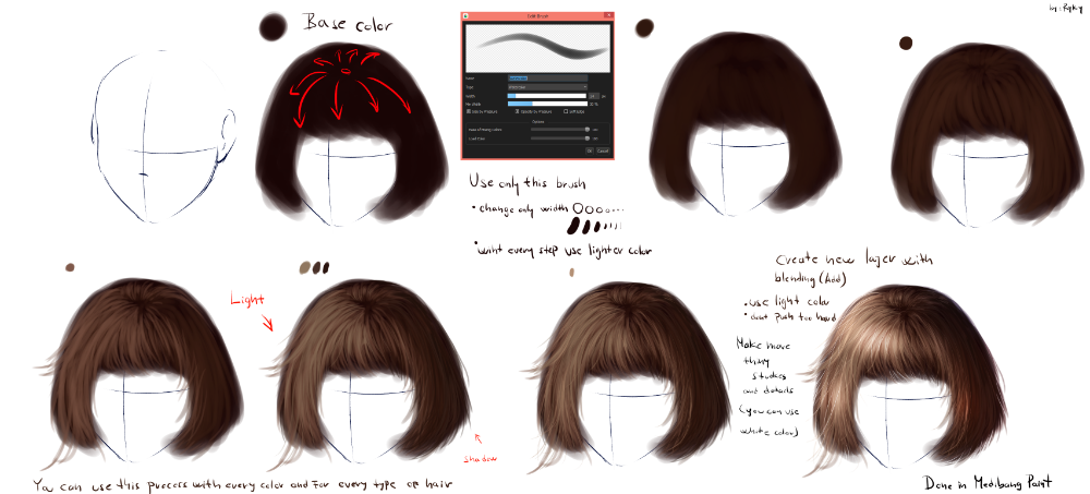 Ryky S Hair Tutorial 2 Medibang Paint Hair Tutorial Digital Painting Tutorials Realistic Hair Drawing