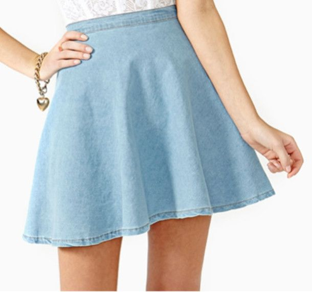 Sky blue/Dark blue A-line denim skirt Size: S/M/L S Length: 40cm ...