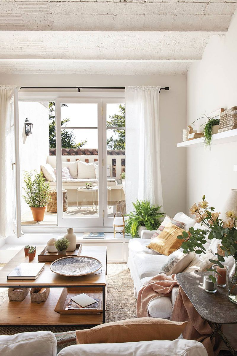 Terrace And Natural Colors In Design Of Small Barcelona Apartment 58 Sq M Photos Ideas Design In 2020 Living Room Decor Cozy Classy Living Room Elegant Living Room