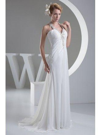 19d4756f0d06d A-line Halter Sweep Train Chiffon Wedding Dress With Ruffle Beading ...