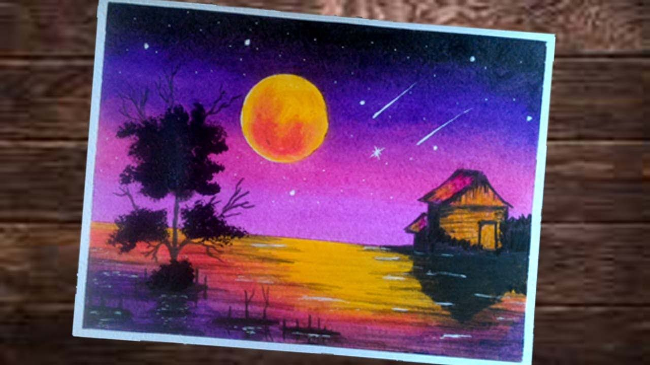 """Cara Menggambar Dan Gradasi Langit Malam """"BEAUTIFUL SCENERY"""