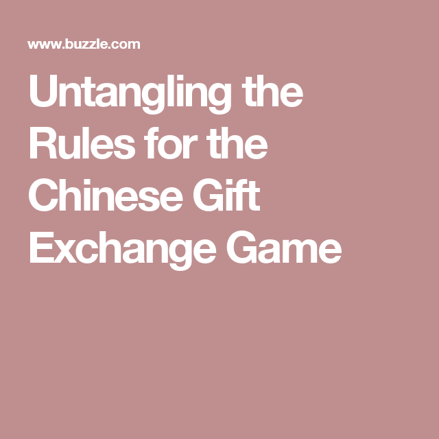 Chinese gift exchange ideas for christmas