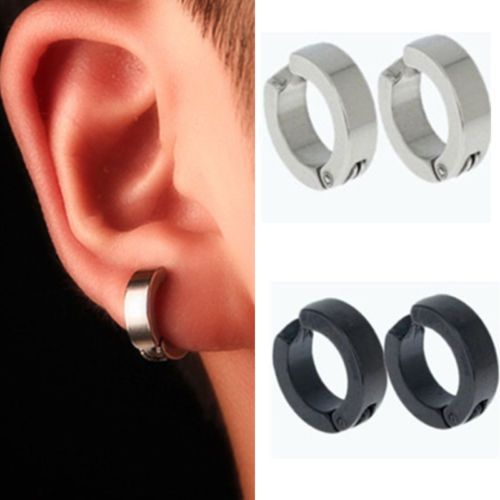 Hot 1 Pair Men Stainless Steel Non Piercing Clip On Ear Stud Cuff Hoop Earrings