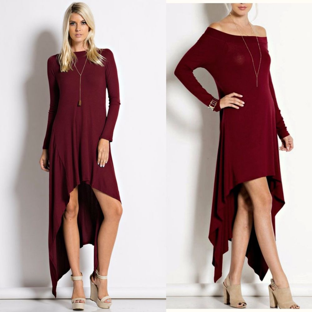 370dedb34815 Long Sleeve On Off Shoulder Hi Low FLOWY SWING Maxi Dress or Tunic Burgundy  S-L  WeekendinVegas  Maxi  Casual