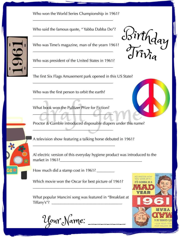 1961 Birthday Trivia Game Birthday Party Trivia 50's, 60