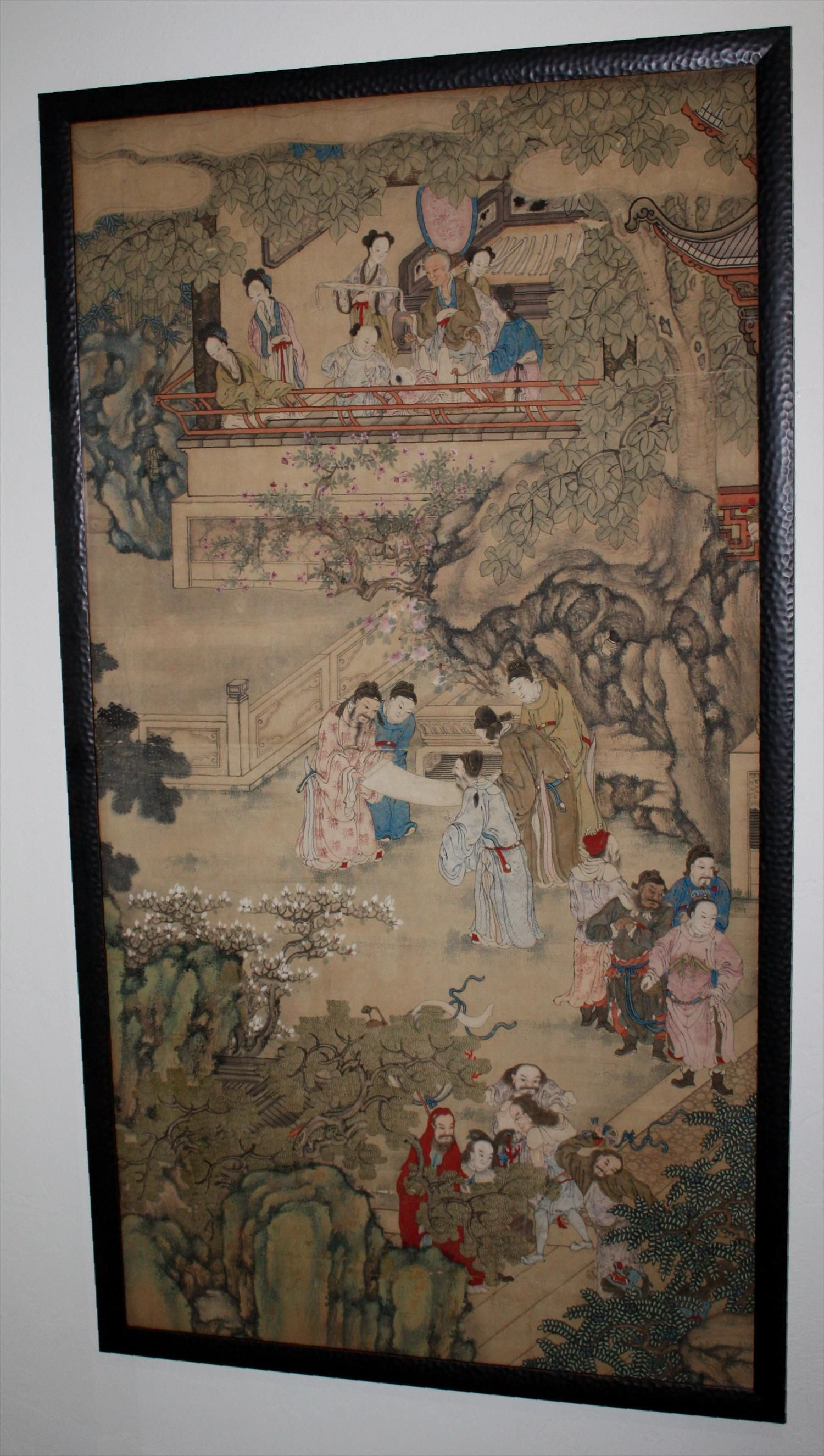 Large Chinese Qing Dynasty Painting of Scholars and Figures in a ...