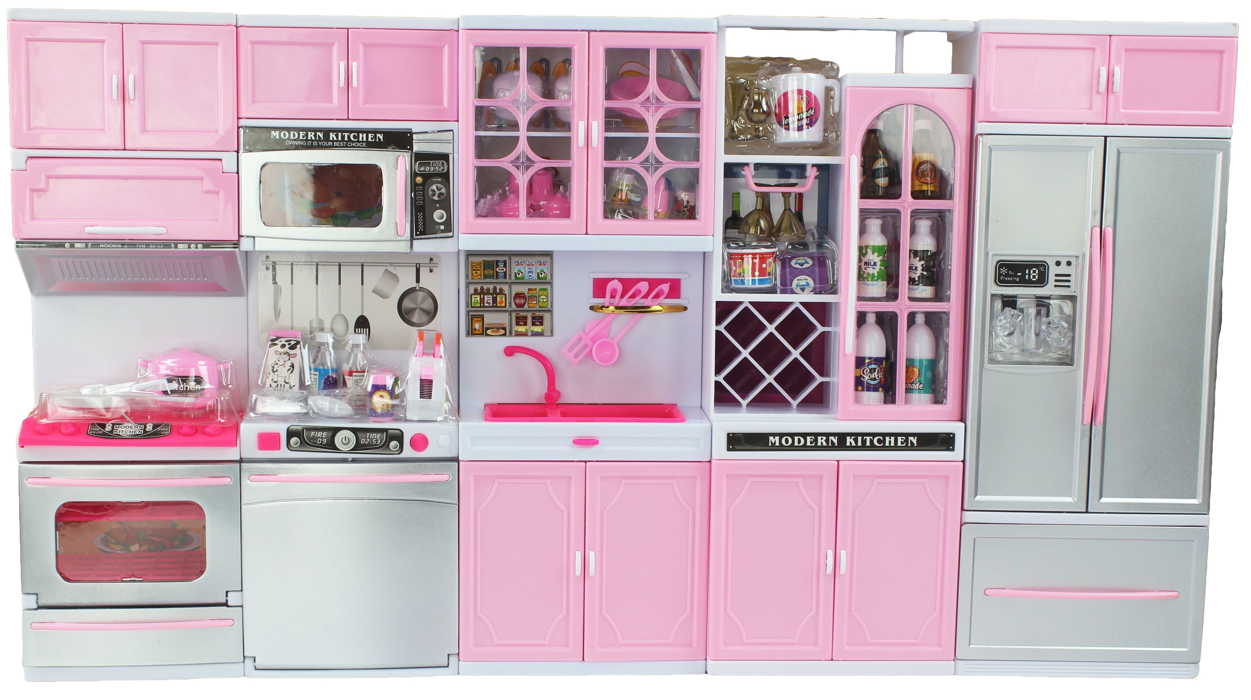 Battery Operated 12 Tall Large Luxurious Toy Kitchen Playset 11 12 Tall Dolls Sounds Parts Light Up Perfect Doll House Accessory Walmart Com Toy Kitchen Barbie Kitchen Set Barbie Kitchen