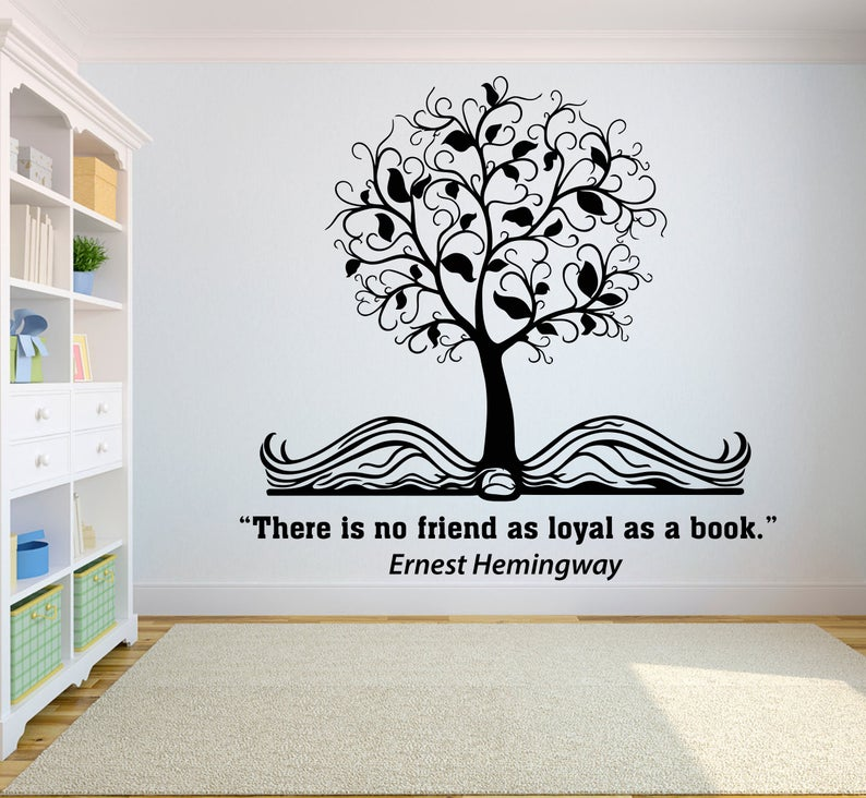 Book Tree Quote Kids Wall Decal Books Quote Reading Room Etsy Kids Wall Decals Vinyl Wall Art Bedroom Room Wall Painting