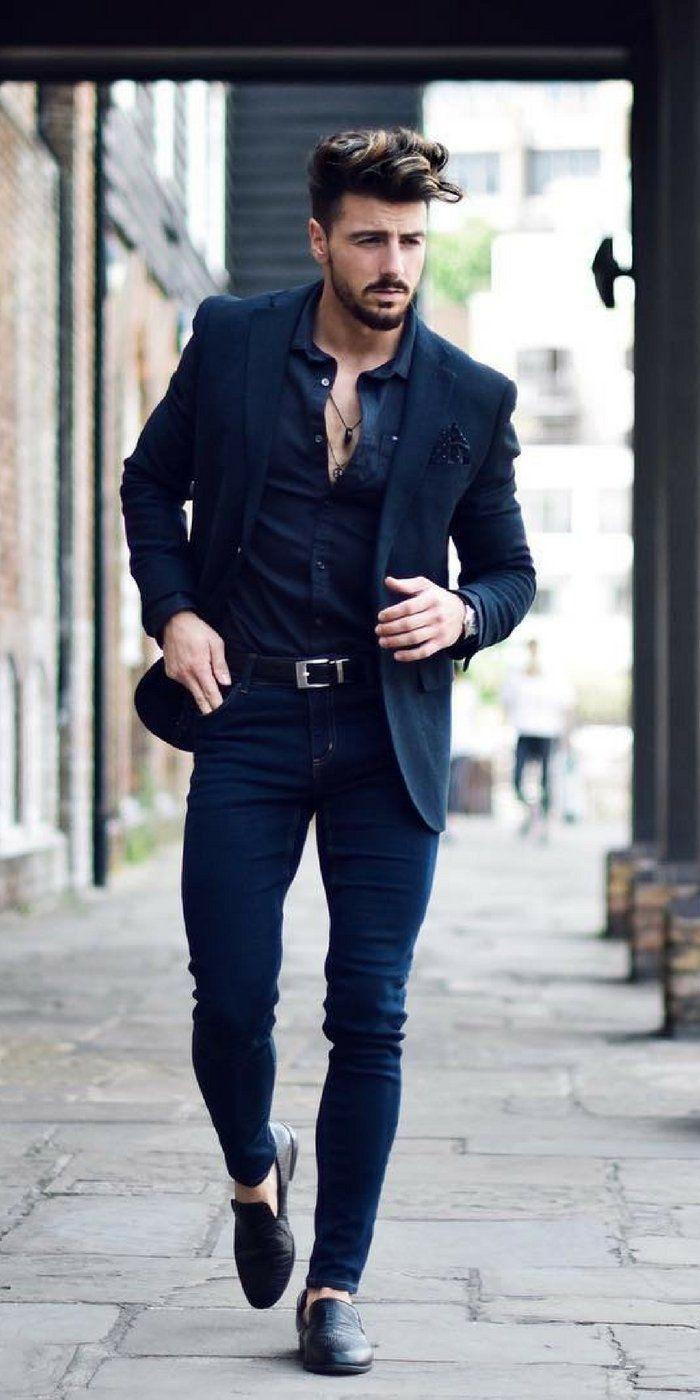 Pantalu00f3n azul marino camisa azul marino saco negro | outfits | Pinterest | Pantalones azul ...