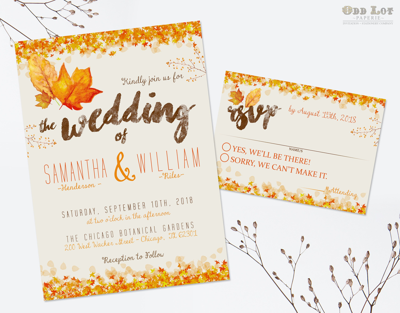 Autumn wedding invitation set fall wedding invitations diy printable