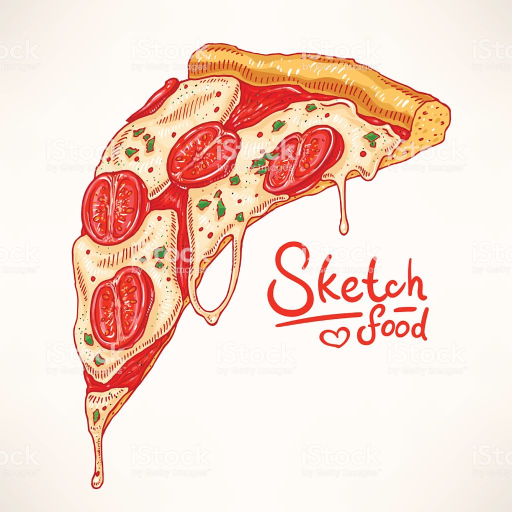 A Slice Of Hand Drawn Appetizing Pizza With Margherita Pizza Slice Drawing Pizza Drawing Pizza Slice