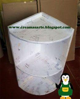 creamas manualidades: Estante esquinero de cartón #mueblesrecicladoscarton